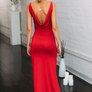 Hello Molly Dresses - Plunged front and Draped back Maxi dress with Slit